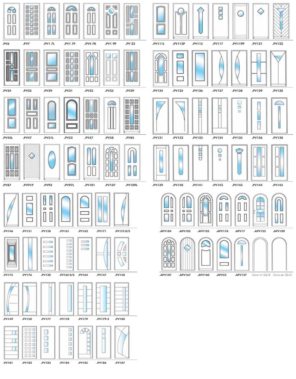 disegni pannelli porte blindate con vetro